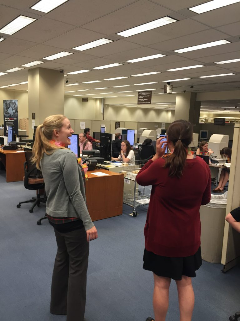 Malea Walker (on left) is the Reference Specialist at the Library of Congress' Newspaper and Current Periodical Reading Room. She has been a wonderful supporter of our project.