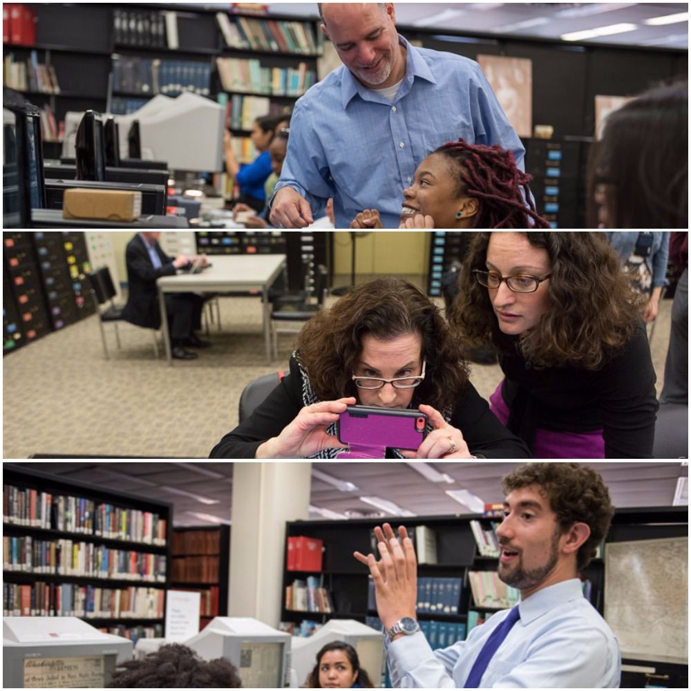 Three photos of David, Elissa, and Eric helping researchers at the MLK library use microfilm readers.