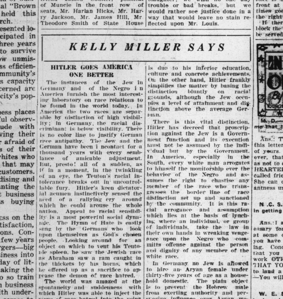 Kelly Miller Says: Hitler Goes America One Better. The Indianapolis Recorder. 1935.11.30