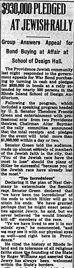"One of several Rhode Island newspaper articles David Laks uploaded. ""$930,000 Pledged at Jewish Rally."" Providence Journal. December 28, 1942."